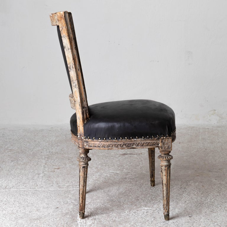 Chairs Side Sweden Gustavian Period 1790-1810 Black Leather For Sale 7