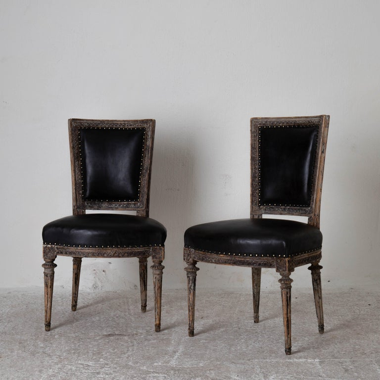 European Chairs Side Sweden Gustavian Period 1790-1810 Black Leather For Sale