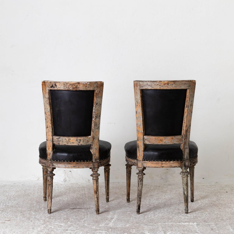 Chairs Side Sweden Gustavian Period 1790-1810 Black Leather In Good Condition For Sale In New York, NY