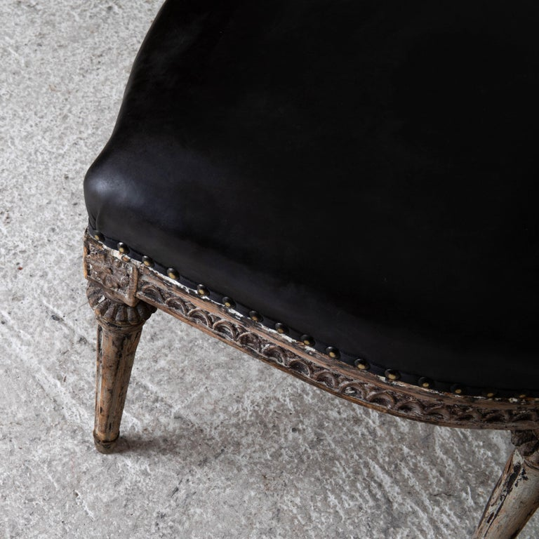 19th Century Chairs Side Sweden Gustavian Period 1790-1810 Black Leather For Sale