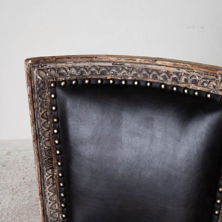 Chairs Side Sweden Gustavian Period 1790-1810 Black Leather For Sale 2