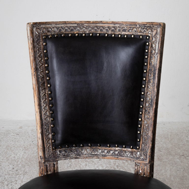 Chairs Side Sweden Gustavian Period 1790-1810 Black Leather For Sale 3