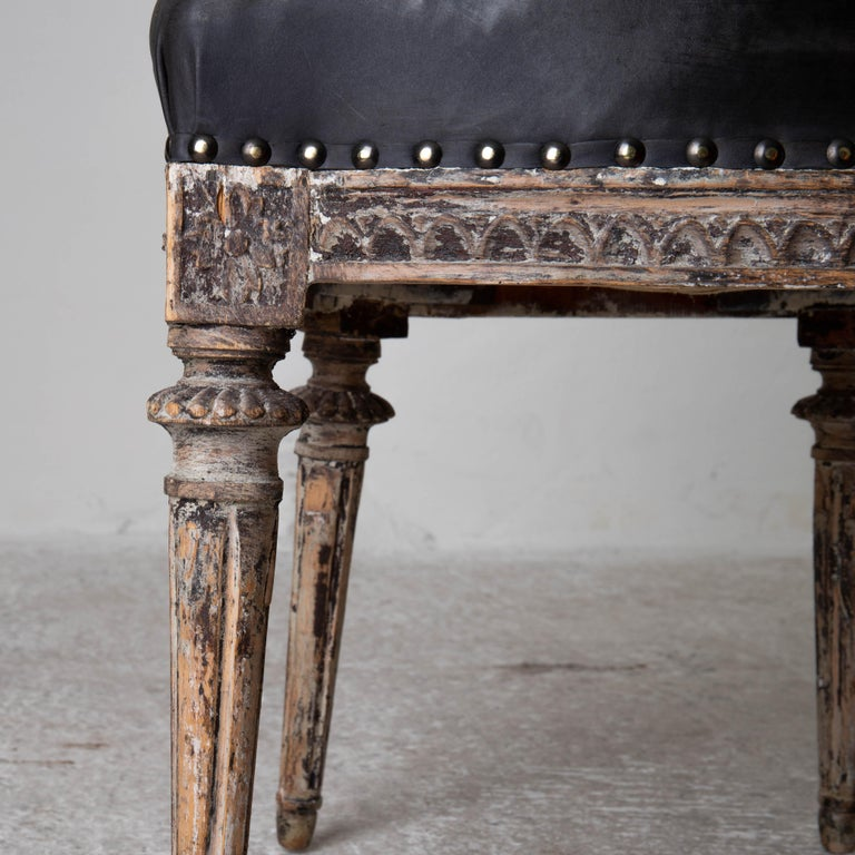 Chairs Side Sweden Gustavian Period 1790-1810 Black Leather For Sale 4