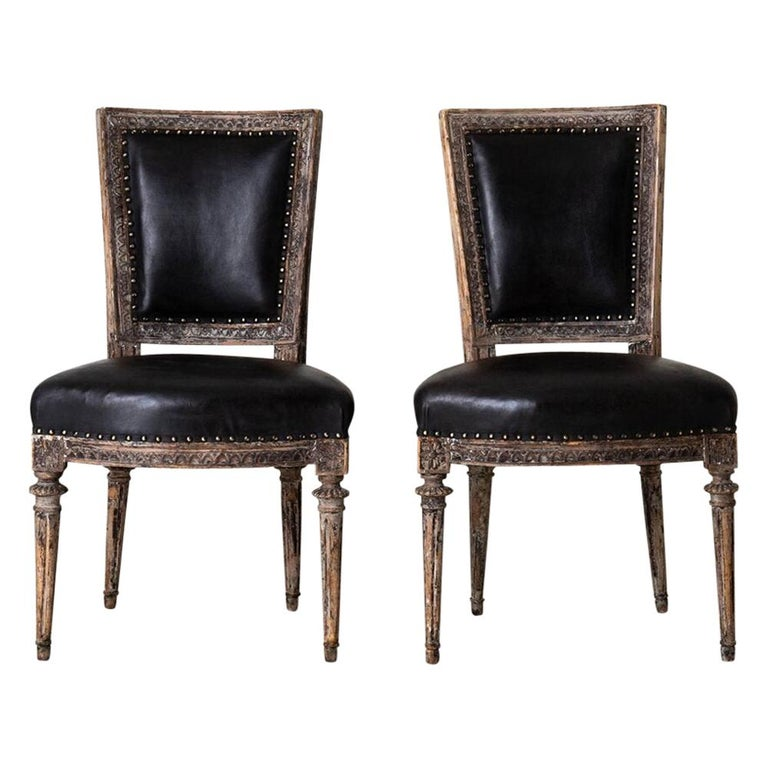 Chairs Side Sweden Gustavian Period 1790-1810 Black Leather For Sale