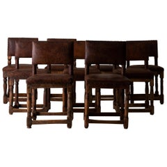 Chairs Swedish Dining Set of 9 Baroque Brown Leather Sweden