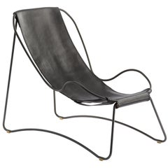 Chaise Longue, Black Steel and Black Saddle Leather, HUG COLLECTION
