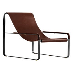 Chaise Longue Black Smoke Steel & Dark Brown Saddle Leather, Contemporary Style