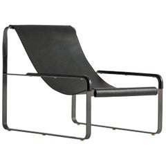 Chaise Lounge, Black Steel and Black Leather, Modern Style Wanderlust