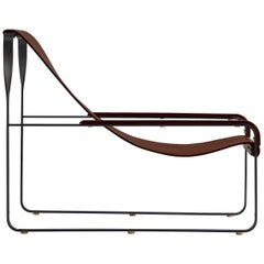 Chaise Longue Black Steel and Brown Leather, Modern Style Wanderlust