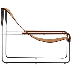 Contempory Chaise Longue Black Steel and Tobacco Leather, Modern Style
