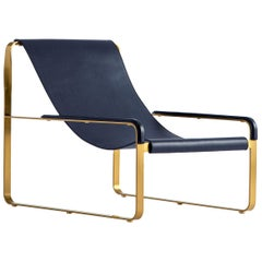 Chaise Longue, Brass Steel and Blue Leather, Modern Style Wanderlust Collection