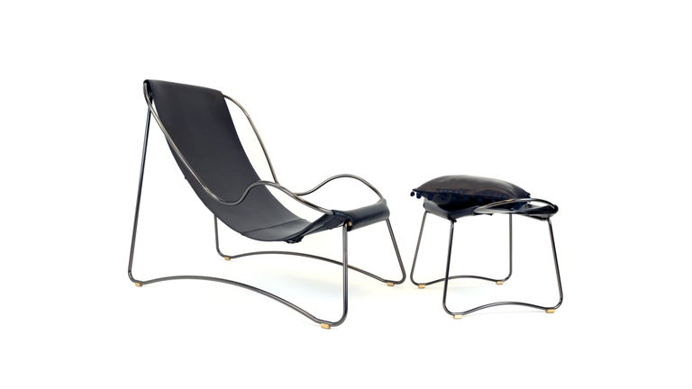 Chaise Longue, Brass Steel and Dark Brown  Leather For Sale 6