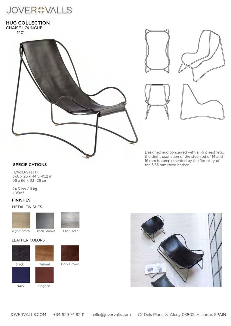 Chaise Longue, Brass Steel and Dark Brown  Leather For Sale 10