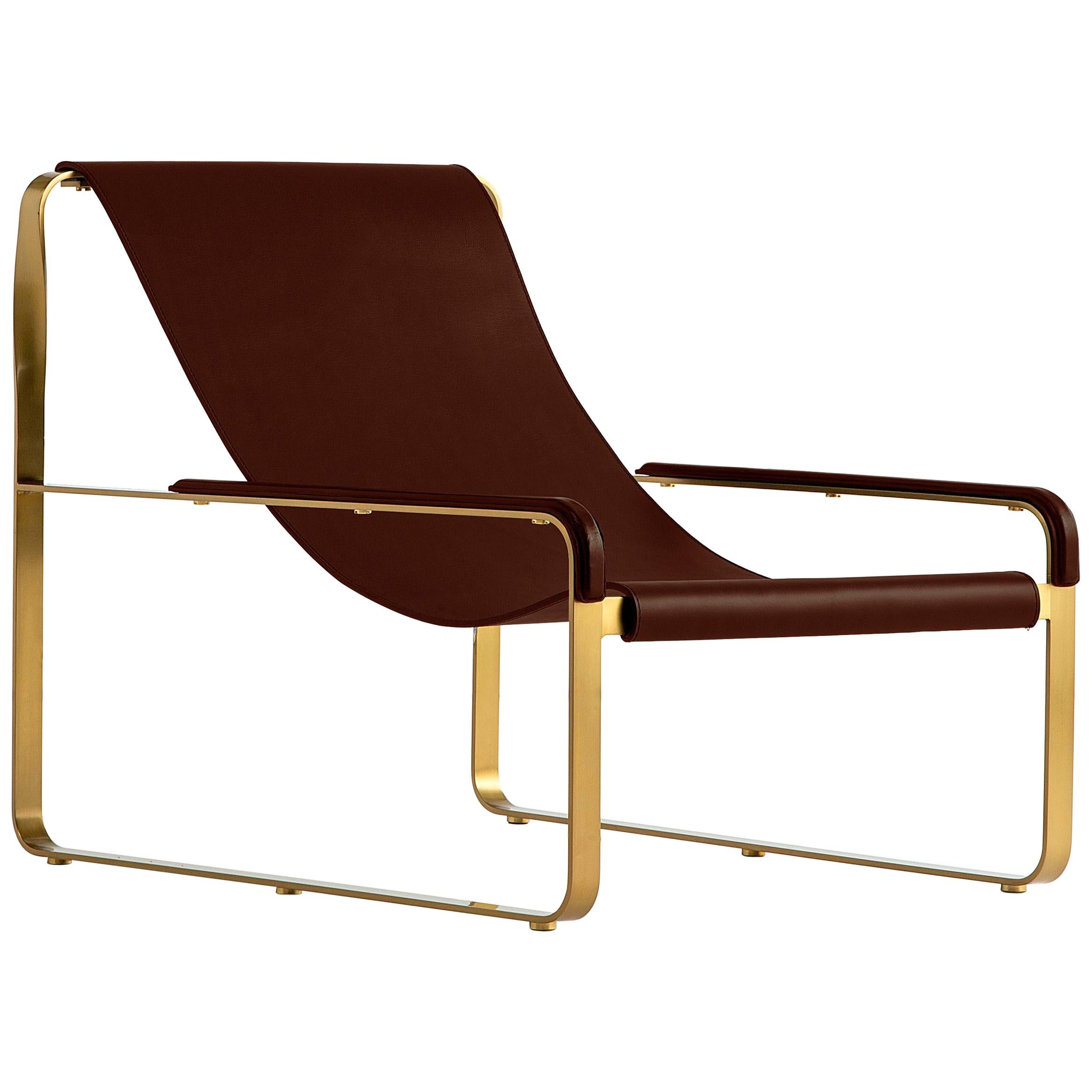 Contemporary Chaise Lounge, Brass Steel and Dark Brown Leather, Modern Style