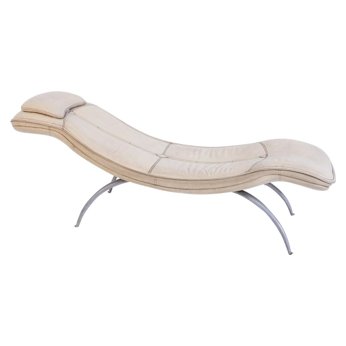 Chaise Longue in Leather Prod. by Moroso, 1970s