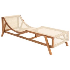 Chaise Longue, Jequibá Brazilian Wood and Natural Straw