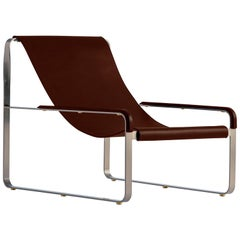 Chaise Longue, Silver Steel and Dark Brown Leather, Modern Style Wanderlust