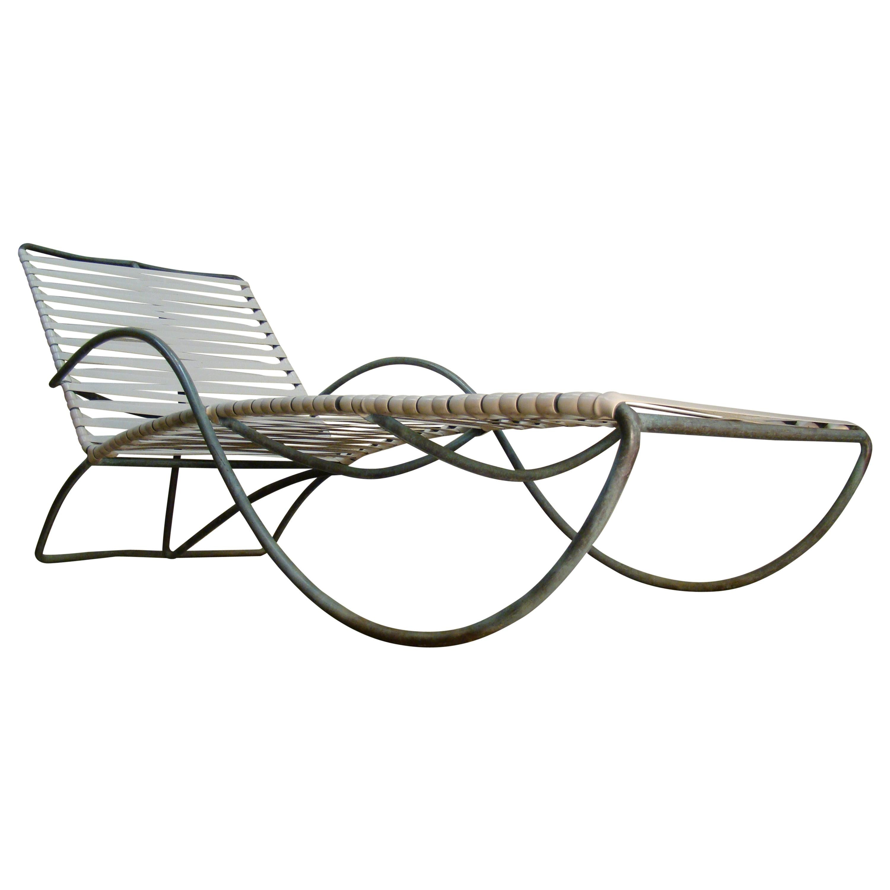 Chaise Lounge '#2' by Walter Lamb for Brown-Jordan Outdoor in Bronze Tubing