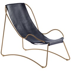 Chaise Lounge Aged Brass Steel and Navy Saddle Leather