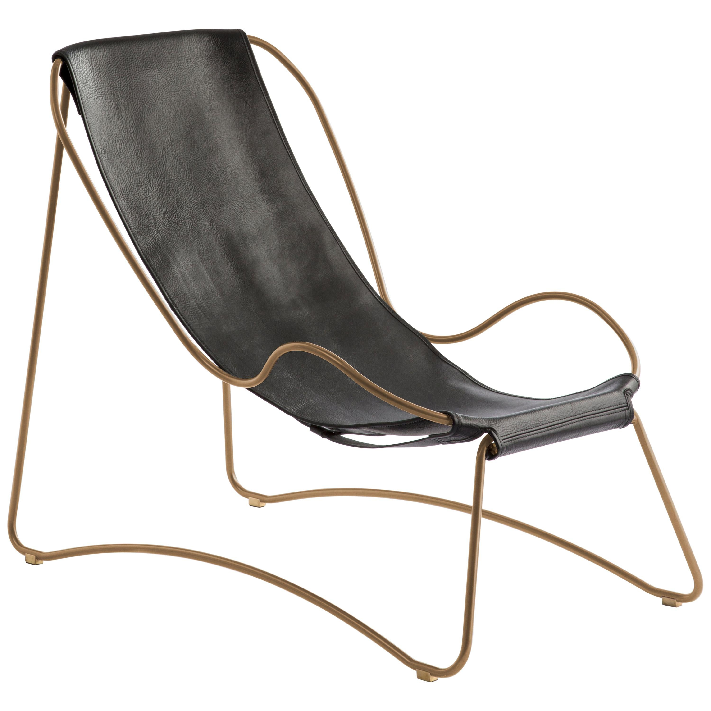Chaise Longue, Brass Steel and Black Saddle Leather,  Contemporary Style