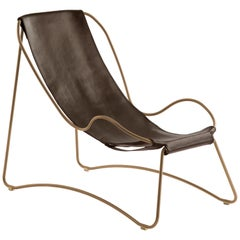Chaise Longue, Brass Steel and Dark Brown  Leather