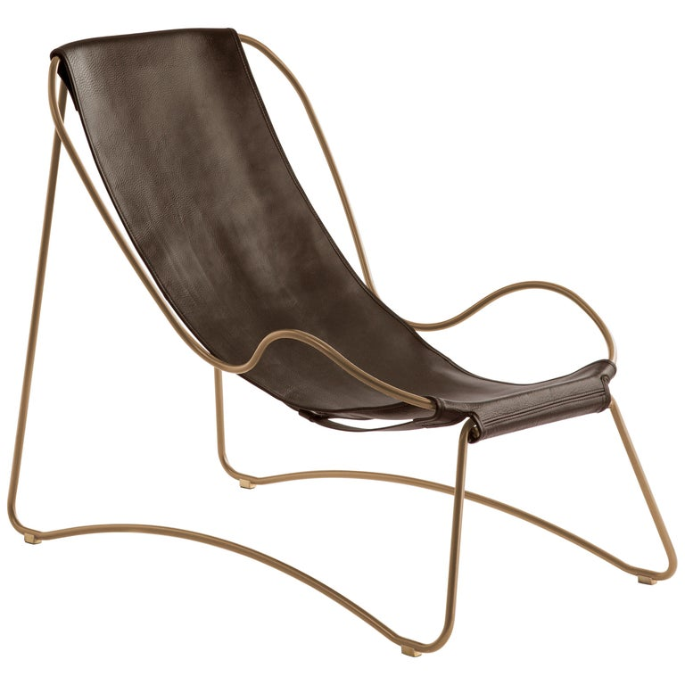 Chaise Longue, Brass Steel and Dark Brown  Leather For Sale