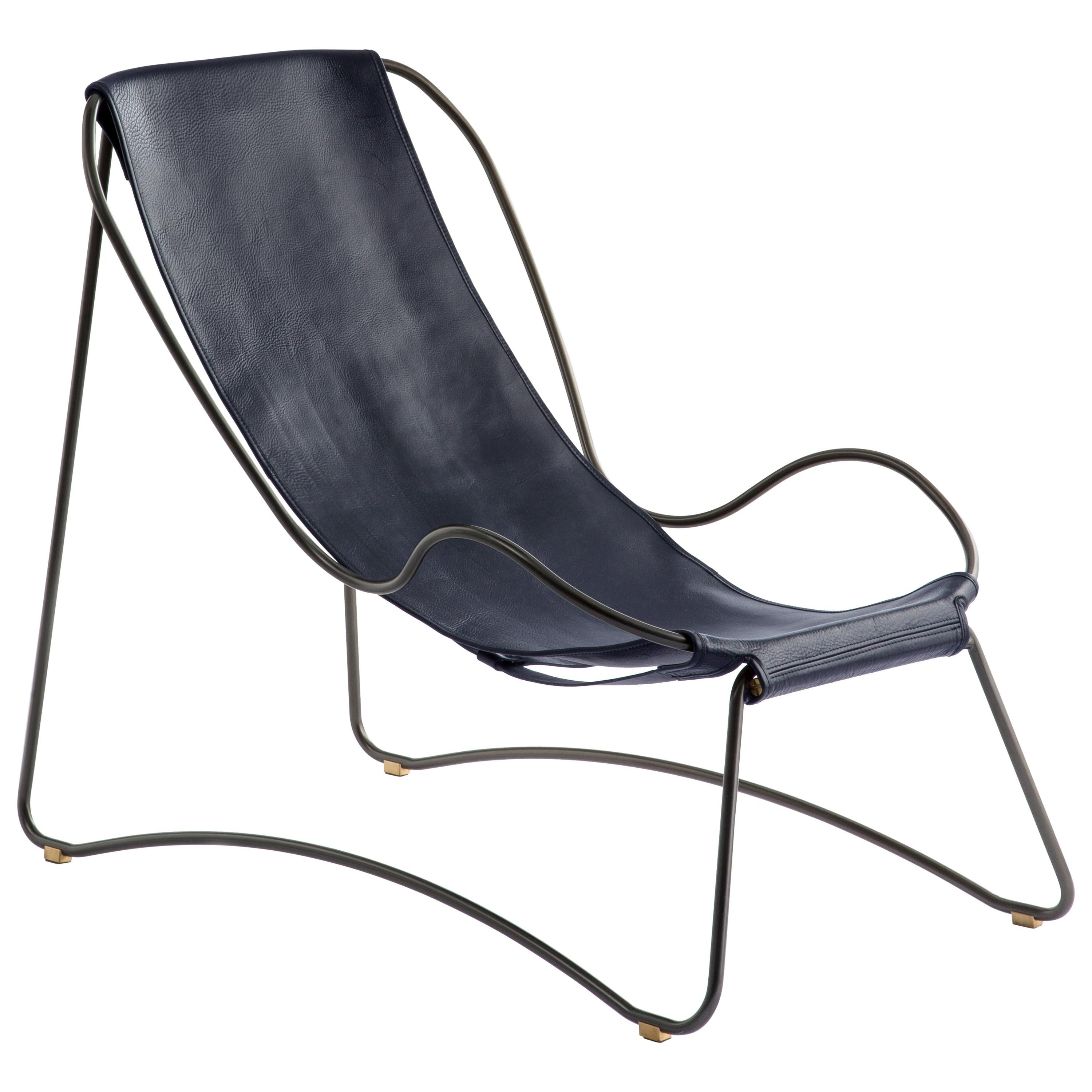 Chaise Longue, Black Smoke Steel and Navy Saddle Leather, Contemporary Style