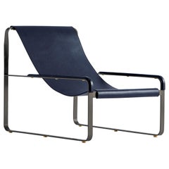 Chaise Lounge, Black Steel and Blue Leather, Modern Style, Wanderlust Collection