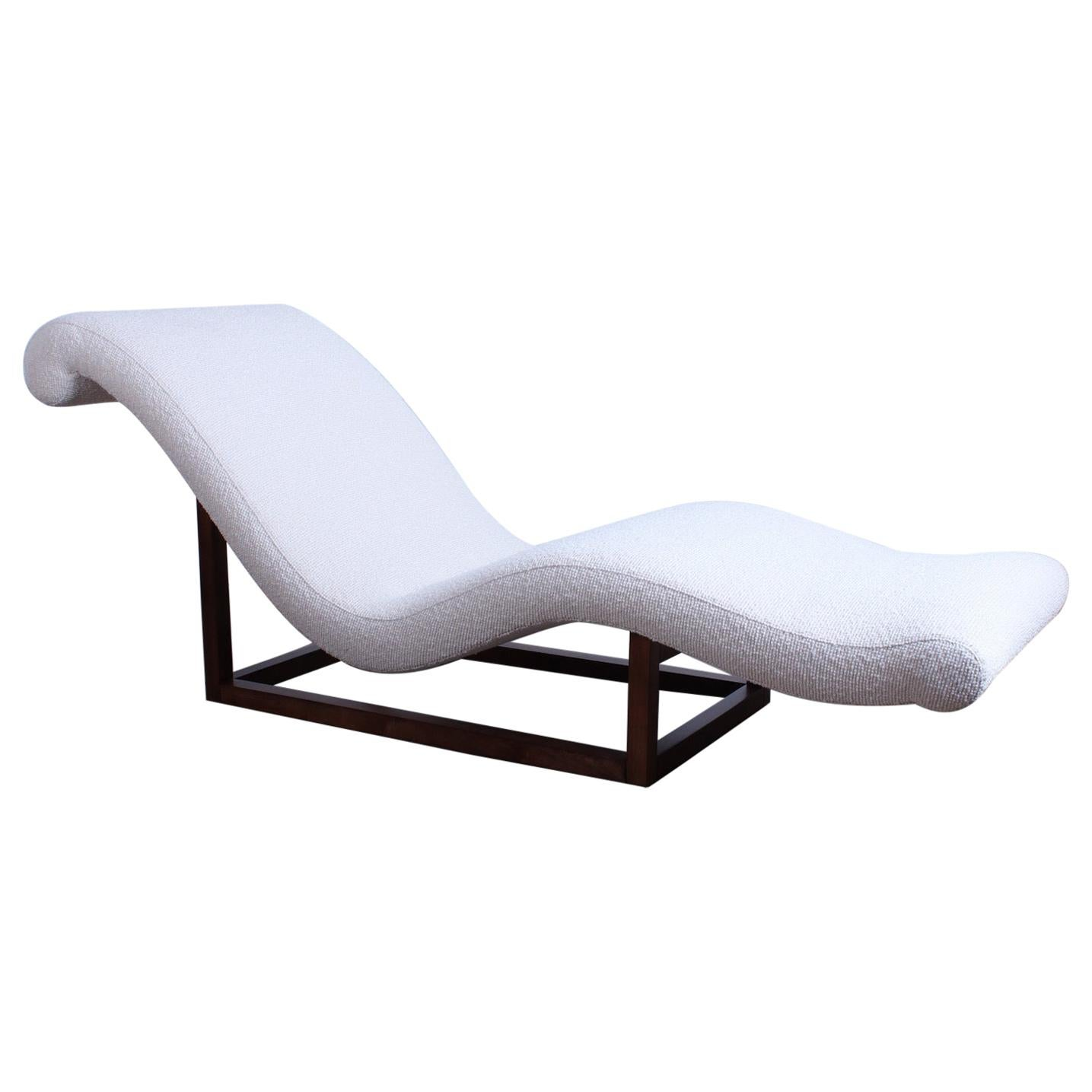 Milo Baughman Chrome And White Faux Fur Chaise Lounge 1970s At 1stdibs