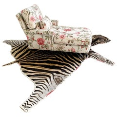 Chaise Lounge in Schumacher Fabric with Zebra Rug