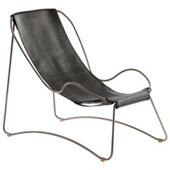 Chaise Longue, Old Silver Steel and Black Saddle Leather