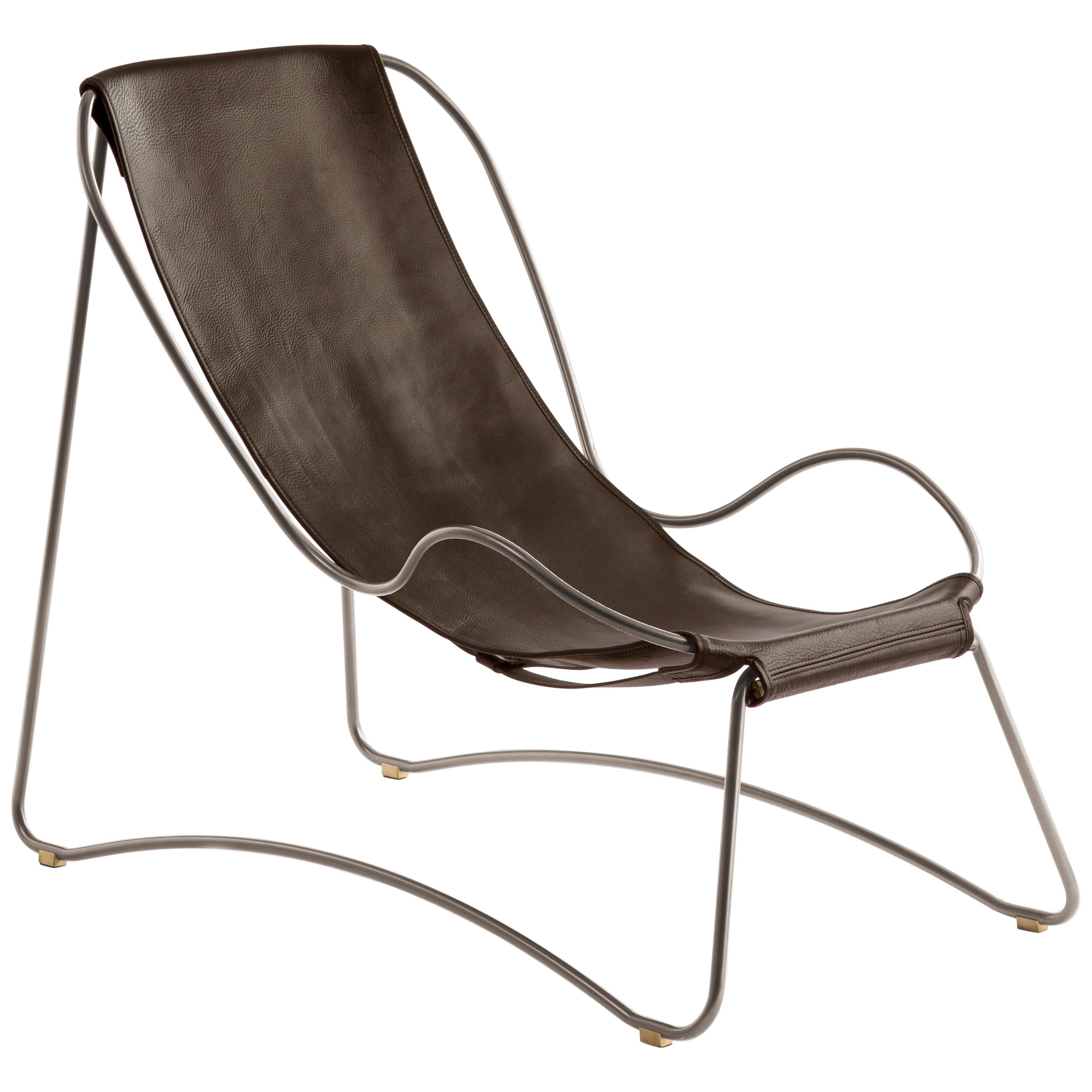 Chaise Longue, Old Silver Steel and Dark Brown Leather, Modern Style