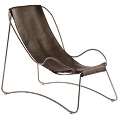 Chaise Longue, Old Silver Steel and Dark Brown Leather