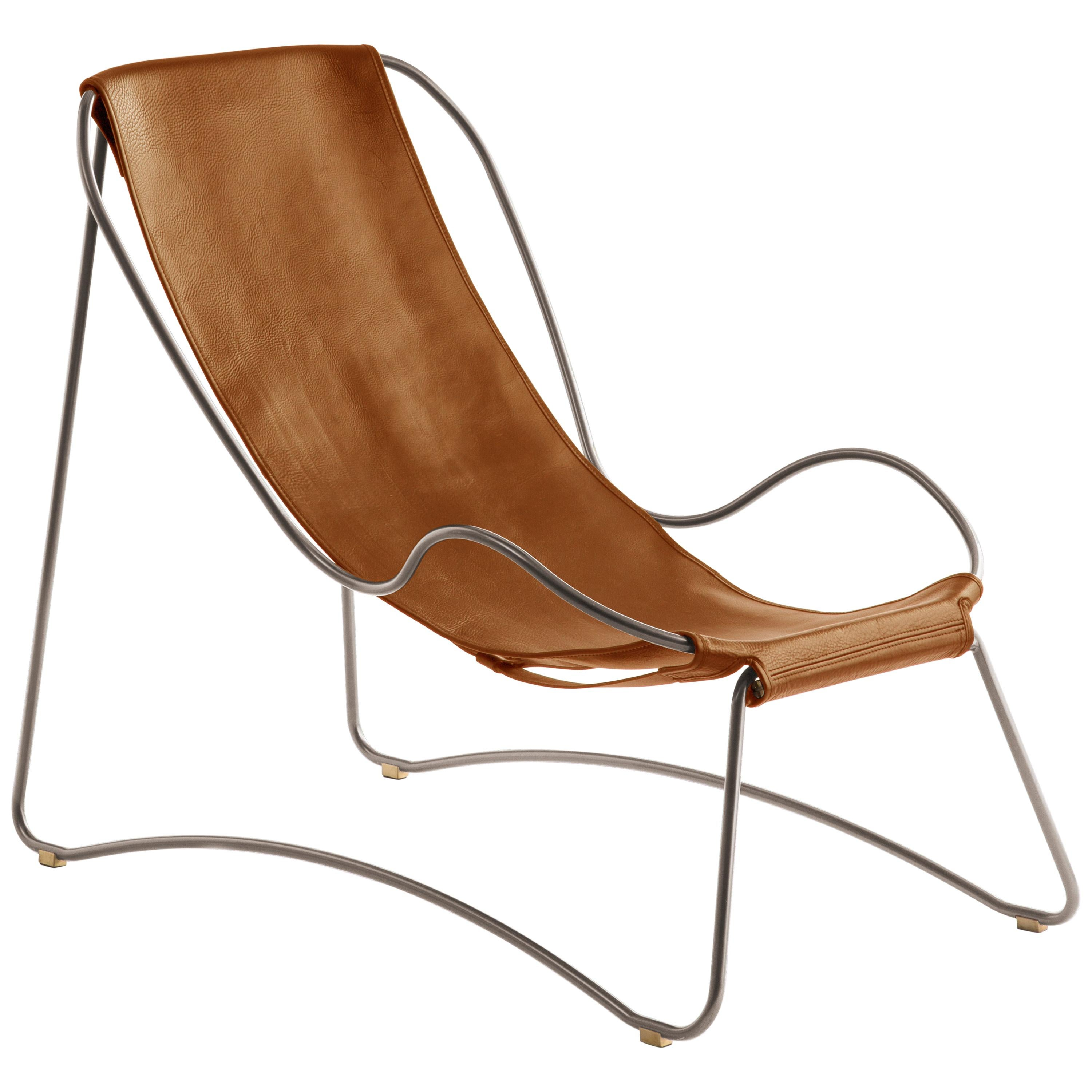 Chaise Longue, Old Silver Steel and Natural Tobacco Leather Modern Style