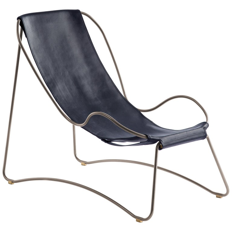 HUG Chaise Lounge Old Silver Steel and Vegetable Tanned Navy Saddle Leather For Sale