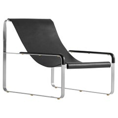Chaise Lounge, Old Silver Steel & Black Saddle Leather, Contemporary Style