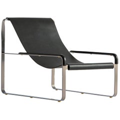 Chaise Lounge, Silver Steel and Black Leather, Modern Style, Wanderlust