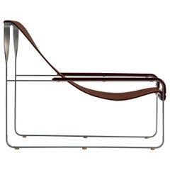 Chaise Lounge, Silver Steel and Dark Brown Leather, Wanderlust Collection