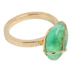 Chakana 18 Karat Yellow Gold Cocktail Ring Muzo Emerald Colombia
