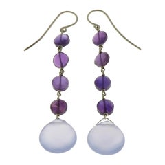 Chalcedony Amethyst 9 Karat White Gold Dangle Earrings Handcrafted in Italy