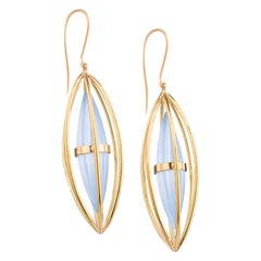 OUROBOROS Chalcedony and 18 Karat Gold Drop Geometric Earrings