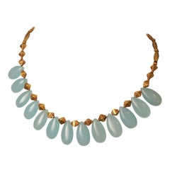 Chalcedony and 18 Karat Gold Necklace