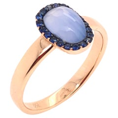 Chalcedony and Blue Sapphire on Rose Gold 18 Karat Ring