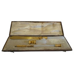 Chalcedony and Gilded Bronze Desk Set from the Duke of St. Albans