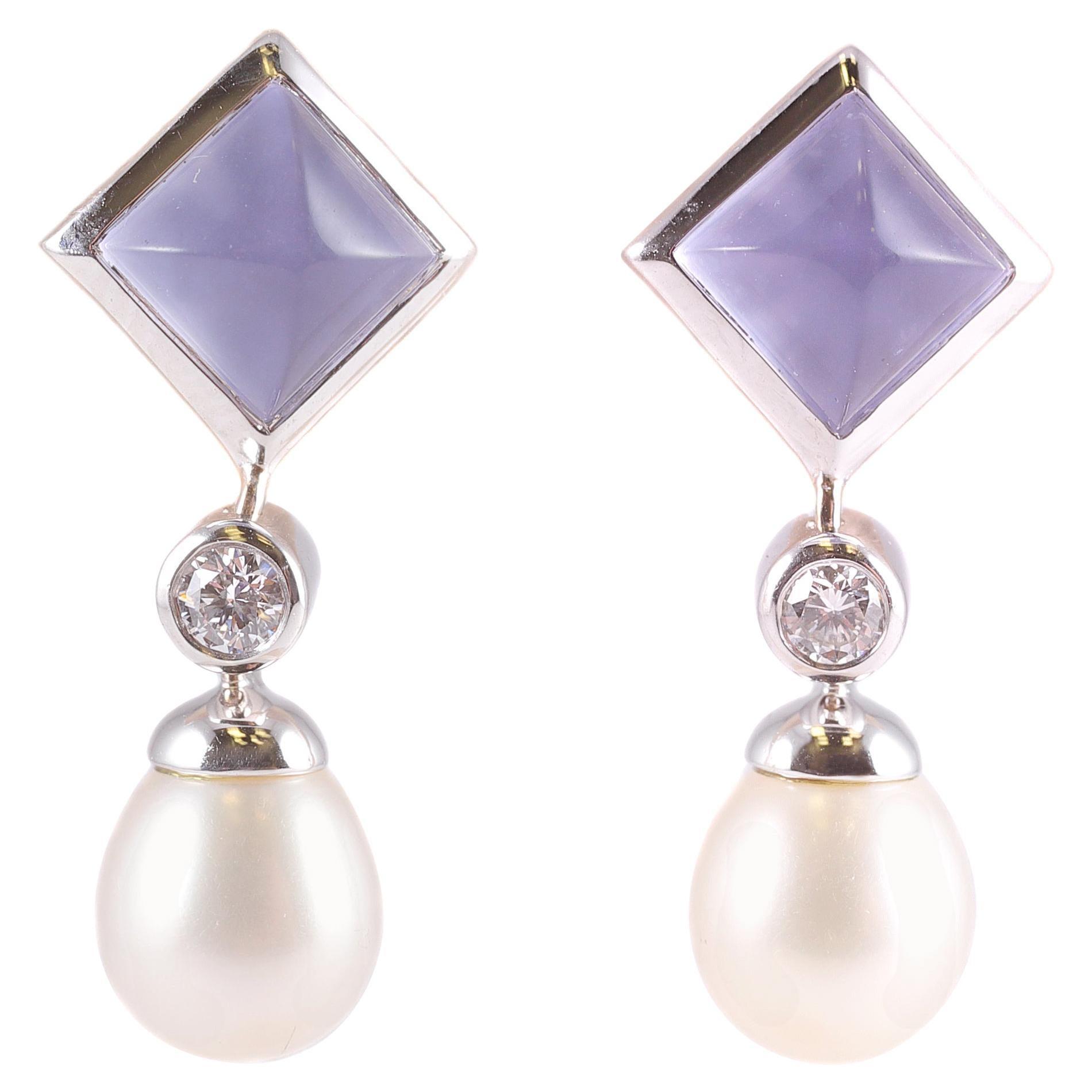 Tiffany & Co. Chalcedony Pearl Drop Earrings