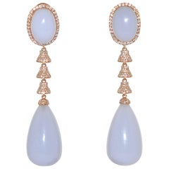 Chalcedony and White Diamonds on Yellow Gold Chandelier Earrings