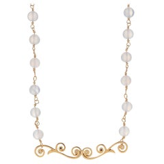 Chalcedony Bead Necklace with Tendril Pendant with Diamond and Sapphire Melee