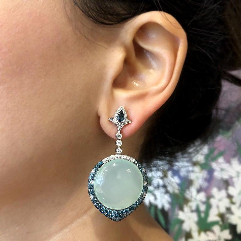 Chalcedony Blue Diamond White Diamond Gold Drop Earrings For Sale 1