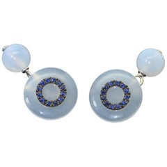 Chalcedony Blue Sapphire 18 Karat White Gold Cufflinks
