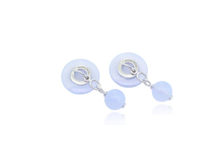 Round Cut Chalcedony Blue Sapphires 18 KT White Gold  Cufflinks For Sale